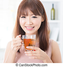 お茶, 女の子, 楽しむ, アジア人
