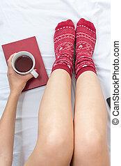 お茶, 女 ベッド, カップ