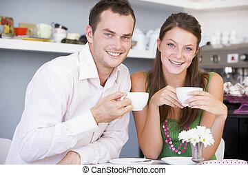 お茶, 恋人, 楽しむ, 若い, 一緒に