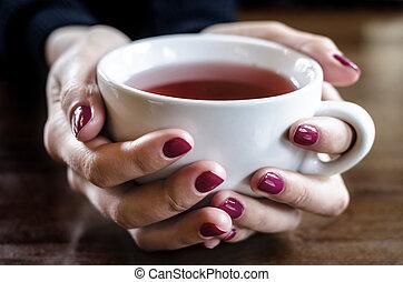 お茶, 手, カップ
