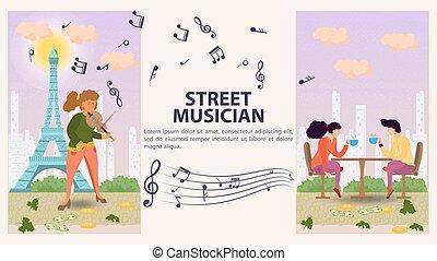 お茶, 旗, モデル, 人, 大袈裟な表情をする, 平ら, 縦, 2, デザイン, イラスト, テーブル, ベクトル, バイオリン, 遊び, 通りの 音楽家, 女の子, 漫画
