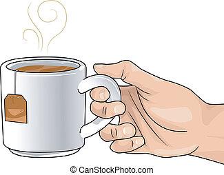 お茶, 暑い, 手, カップ