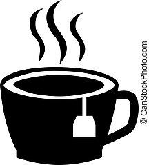 お茶, 暑い, 袋, カップ