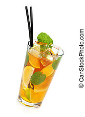 お茶, 氷, ガラス, レモン, ミント, ライム
