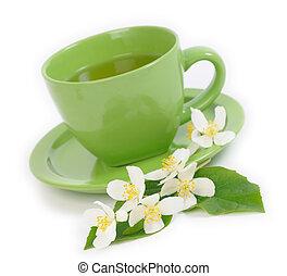 お茶, 浅い, ジャスミン, dof, flowers., 緑