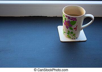 お茶, 窓, カップ