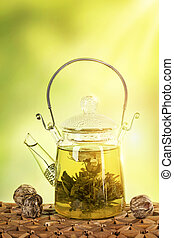 お茶, 花が咲く, ティーポット