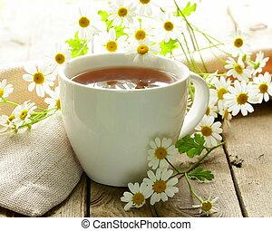 お茶, 花, カモミール, カップ