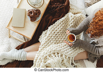 お茶, 飲むこと, レモン, ベッド