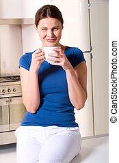 お茶, 飲むこと, 女, カップ