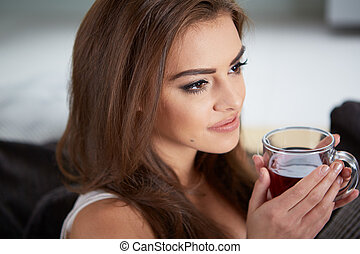 お茶, 飲むこと, 女, 若い, 肖像画