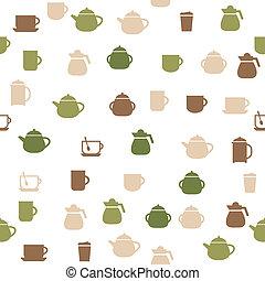 お茶, seamless, パターン