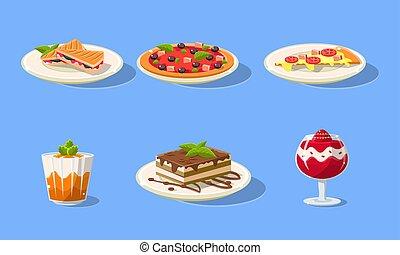 お菓子屋, ピザ, 皿, セット, 食物, デザート, ベクトル, 味が良い, イラスト, おいしい, ケーキ