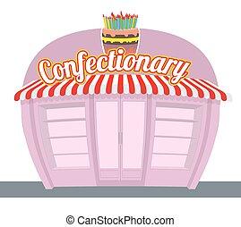 お菓子屋, shop., 甘いもの, shop., signage, celebratory, cake., 楽しみ, 甘いもの, そして, ケーキ, パン屋, 中に, rear., お菓子屋, showcase.