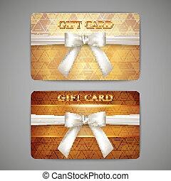 お辞儀をする, セット, 贈り物, カード, 金, 白