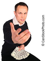 お金の人, 黒, 若い, 誘う
