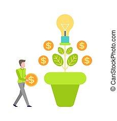 お金の通貨, 木, ベクトル, 成長, 投資しなさい, 人