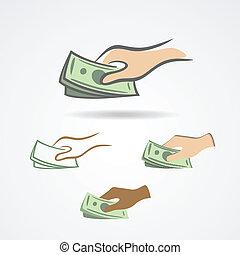 お金の 記号, いくつか, コレクション, 手