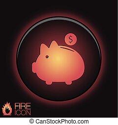 お金の 記号, 小豚, bank.