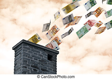 お金は飛ぶ, の上, 煙突, ユーロ