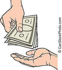 お金を与えること, 受け取ること, 手