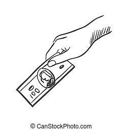 お金を与えること, 手, いたずら書き