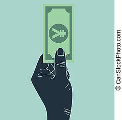 お金を与えること, 手, 円