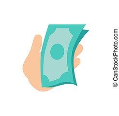 お金, イラスト, 手, 紙幣, ベクトル, 保有物
