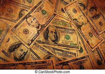 お金, グランジ, 背景