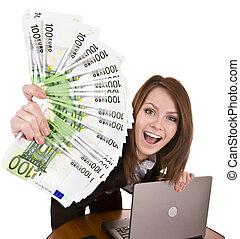 お金, グループ, laptop., 女性実業家