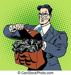 お金, スーツケース, 極度, ビジネスマン