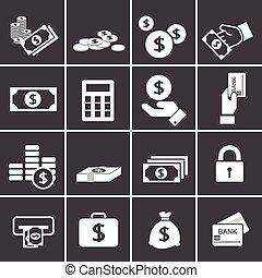 お金, セット, アイコン