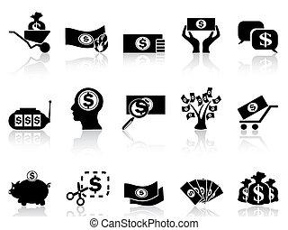 お金, セット, 黒, アイコン
