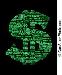 お金, テキスト, コラージュ, 作曲された, 中に, ∥, 形, の, ドル記号
