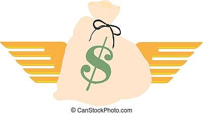 お金, ドル, イラスト, 印, 袋, ベクトル