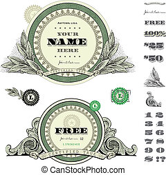 お金, フレーム, ベクトル, セット, ラウンド