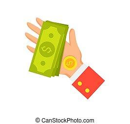 お金, ベクトル, ビジネスマン, イラスト, 手