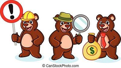 お金, ベクトル, 熊, マスコット