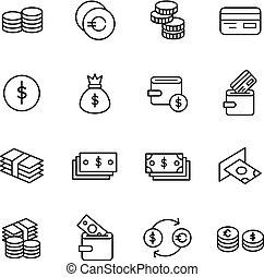 お金, ベクトル, 関係した, アイコン