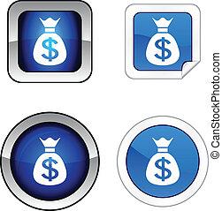お金, ボタン, set.