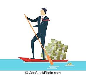 お金, ボート, 人