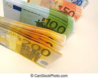 お金, メモ, -, ユーロ