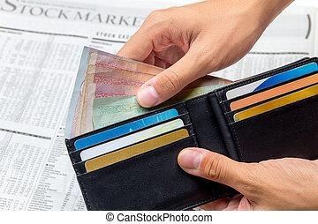 お金, 上に, 取った, ポケット, 背景, 新聞, から, 市場, 株