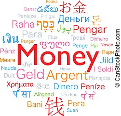 お金, 中に, 外国である, 言語