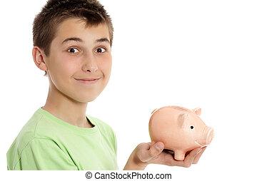 お金, 保有物, 箱, 男の子