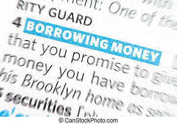 お金, 借用, 言葉