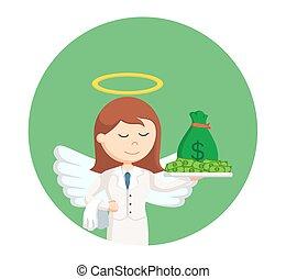 お金, 円, 背景, 天使, 女性実業家