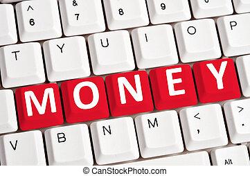 お金, 単語, 上に, キーボード