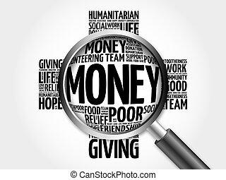 お金, 単語, 拡大する, 雲, ガラス