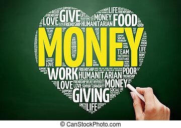 お金, 単語, 雲, 心